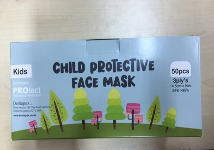 Child Disposable Protective Face Mask, 3 Ply Layer, Earloop